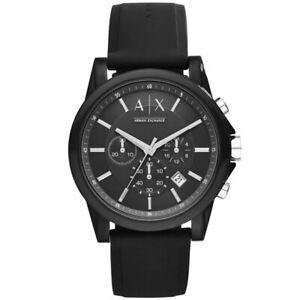 Armani Exchange Men's Black Silicone Strap Chronograph Sports Watch AX1326
