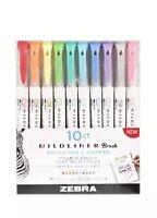 Zebra Pen Mildliner, Double Ended Brush Pen & Marker 10ct
