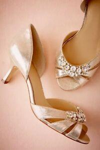 New $130 BHLDN Hitherto MARTINA D'ORSAY 6.5 / 9.5 Gold Rhinestone Kitten Heels