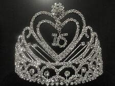 Sweet Sixteen 16 Year Old Birthday Rhinestone Heart Tiara Crown Comb Headpiece