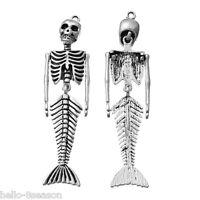 3 PCs Fashion Silver Tone Mermaid Skull Skeleton Pendants 7.3x1.8cm