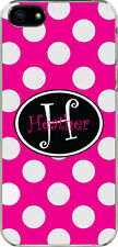 Fuschia Polka Dot iPhone 5 Curlz Monogrammed Custom Sticker on Hard Case Cover