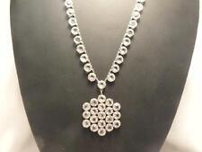 Vintage Deco Bezel Set Rock Crystal Pendant Necklace