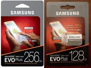 SAMSUNG EVO Plus MicroSD 128GB 256GB Class 10 U3 Flash Memory Card w/SD Adapter