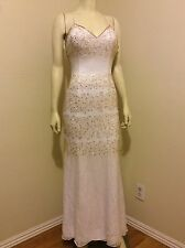 WHITE GOLD WEDDING COCKTAIL BALL GOWN BEADED SILK DRESS SIZE 00