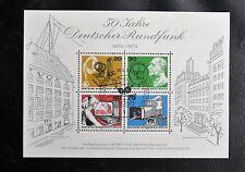 TIMBRES D'ALLEMAGNE : BERLIN 1973 BLOC FEUILLET Oblitéré 1er JOUR - 50 ANS RADIO