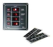 Vierfach Schalttafel Schaltpanel 12 Volt Schmelzsicherungen Schalter beleuchtet