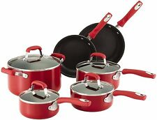 Guy Fieri Cookware Set 10 PC Red Nonstick Aluminum Pots Frying Pans Skillets NEW