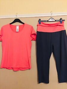 ladies gym wear sets size xl running bnwot avon  leggings top yoga 16/18/20