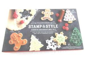 Williams Sonoma Stamp & Style Cookie Decorating Kit Stamp Cutter Christmas