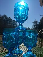 L. E. Smith Moon and Star Blue Goblets Rare set of 4 Water Glass Wine Glass