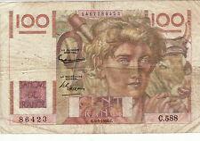 FILIGRANE INVERSE RARE 100 FRANCS PAYSAN C4/3/1954 dans son jus 4 épinglages