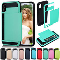 Hidden Heavy Duty Credit Card Holder Case For Apple iPhone X 8 7 6s 6 Plus 5 SE