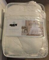 Simply Shabby Chic White Crochet Trim Linen Blend 3 Piece King Comforter Set NWO