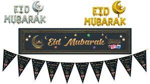 Eid Mubarak Black Set Banner Bunting Balloons decorative wall hanging reusable