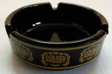 Vintage Black Glass Golden Nugget Casino Ashtray with Nine Logos