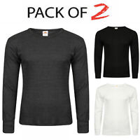 Pack Of 2 Mens Thermal Long Sleeve Shirt Top Ski Warm Winter Brushed Vest S-XL