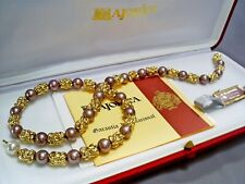 """2002 LOVELY VINTAGE MAJORICA SIMULATED PEARL & GOLD PLATED 17.8"""" NECKLACE & BOX"""
