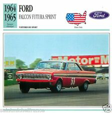 FORD FALCON FUTURA SPRINT 1964 1965 CAR VOITURE UNITED STATES CARTE CARD FICHE