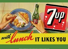 Seven 7 Up With Lunch It Likes You TIN SIGN Vintage Metal Poster Wall Decor Ad