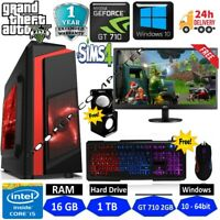 Fast Gaming PC Computer Bundle  Quad Core i5 16GB 1TB Win10 2GB GT710 Speaker