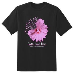 Faith Hope Love Breast cancer T shirt  Adults Unisex