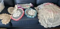 Vintage Lot 12 HAND CROCHET Cotton LACE DOILIES DOILY Craft Project Doll Clothes