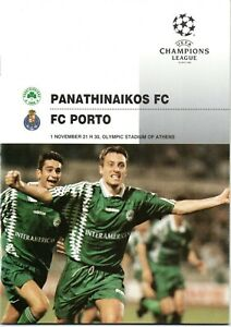 Panathinaikos v FC Porto Champions League Programme 1st November 1995