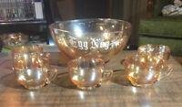 EGG NOG SET Punch Bowl~ Marigold Carnival Glass ~ Gorgeous! 5 Cups 1 Bowl