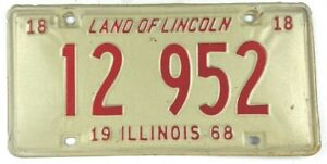 Illinois 1968 Vintage License Plate Classic Car Tag Muscle Year Man Cave Gift