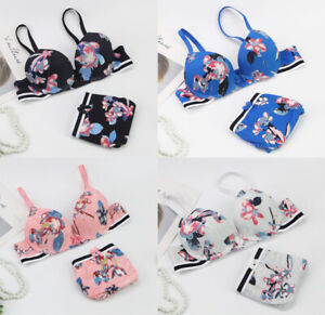 Womens Underwear Lingerier Lace Floral Flower Padded Push Bra Sets Panties
