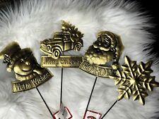 Set of 4 Holiday Time Metal Lawn Stakes Snowflake, Santa Claus Truck, & Snowman