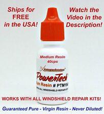 PowerTech Medium Auto Glass Windshield Rock Chip Crack UV Repair Resin .5oz 15 m