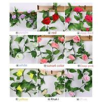 8Ft Fake Rose Garland Silk Flower Rattan Vine Ivy Home Wedding Garden Decor #U-