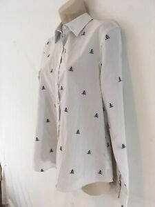 Lands End Womens 10 White Pinstripe Anchors Button Front Shirt