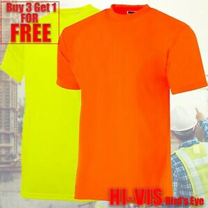 Hi Vis T Shirt Non ANSI Short Sleeve Safety High Visibility Fast Dry Work Shirt