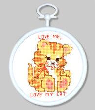 Cross Stitch Mini Kit ~ M.C.G. Love My Cat w/Frame #15350