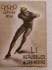 San Marino Sports stamp - Speed skater Olympics 1956