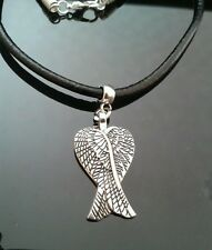 """Angel Wings & Real Leather Cord Necklace 18"""" Unisex Free P&P 29x17mm"""