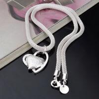 Silber Mode Doppel Herz Halskette Halsreif Damen Schmuck Valentinstag Gesch B3K0