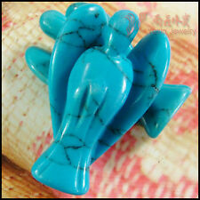Turquoise Carved Standing Angel with Wing Figurine Pendant Handmade Jewelry gift
