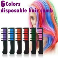 6PCS Temporary Hair Chalk Color Comb Dye Cosplay Washable Color Hair Comb P7V6