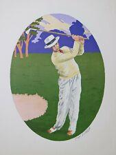 "LITOGRAFIA a COLORI Lithographie Lithography GEORGES GRELLET ""Il Golfista"" 1930"