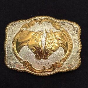 CRUMRINE Double Horse Head Gold Silver Plated Bronze Western Belt Buckle