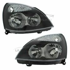 Renault Clio 2001-2005 Black Front Headlight Headlamp Pair Left & Right