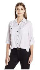 New NY Collection Polka Dot Printed White & Black Utility Shirt Blouse Petite XS