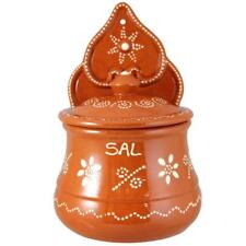 Traditional Portuguese Hand Painted Vintage Clay Terracotta Salt Holder