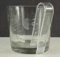 Princess House Crystal Glass Heritage Pattern Ice Bucket & Tongs