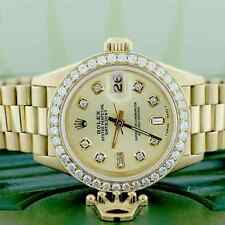 Rolex President Datejust Ladies Gold 26MM Watch w/Champagne Diamond Dial & Bezel