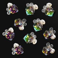 New 10pcs DIY 3D Nail Art Decoration Multicolor Alloy Jewelry Glitter Rhinestone